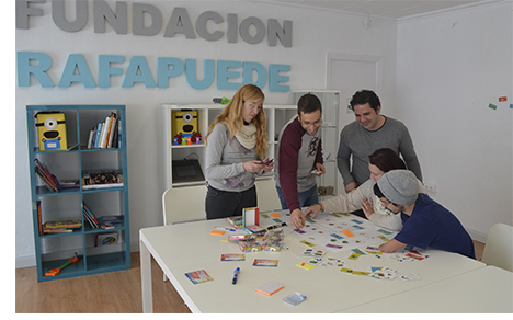 Staff of RafaPuede Foundation in Spain working with Business4ALL Toolkit
